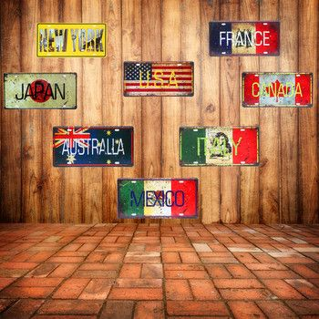 Mexico Italy France Car Metal Plate Vintage Home Decorative Country Tin Sign Bar Cafe Art Wall Decor Painting USA Plaque 30x15cm