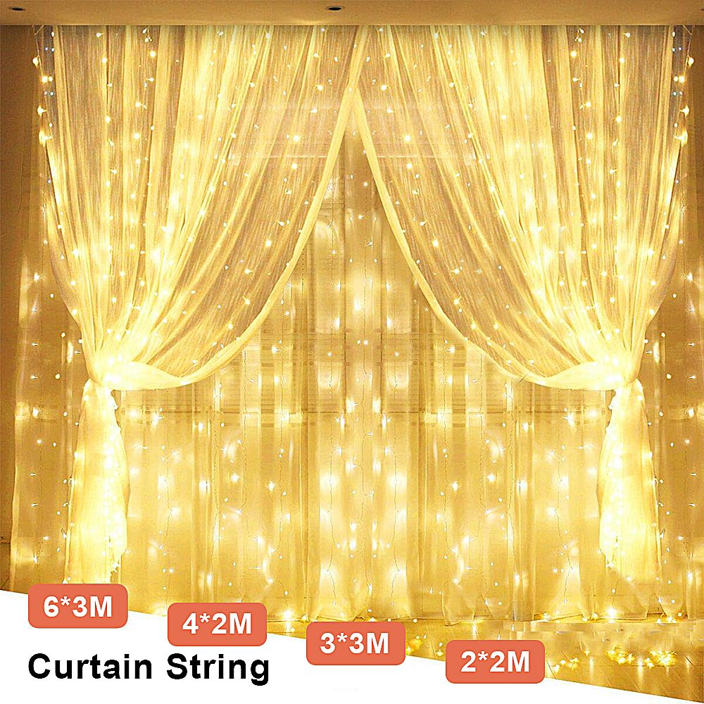 3Mx3M Icicle Fairy Light Garland LED String Christmas Light Outdoor Luce LED Decoration For Valentine Xmas Garland 220V EU Plug