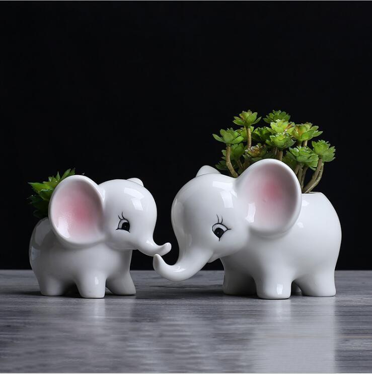 Mignon Creative Main Pot de Fleurs En Céramique Moderne Décoration de La Maison Balcon De Bureau de Bande Dessinée Éléphant En Céramique Pot De Fleur bon cadeau