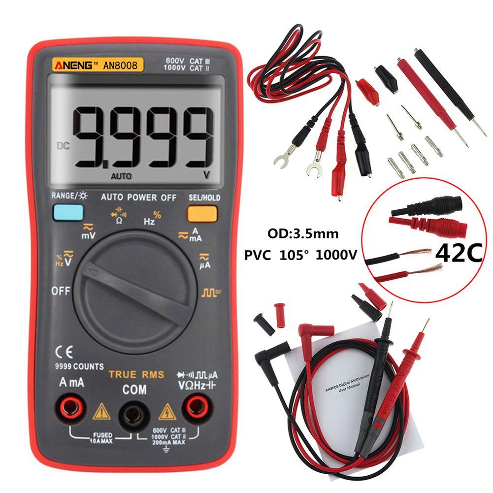 ANENG AN8008 True-RMS Digital Multimeter 9999 Counts Square <font><b>Wave</b></font> Backlight AC DC Voltage Ammeter Current Ohm Auto/Manual