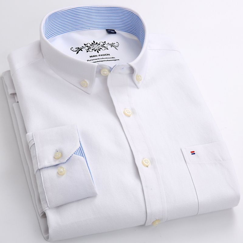 Mens Long Sleeve Solid Oxford Dress Shirt with Left Chest Pocket High-quality Male Smart Casual Slim-fit Tops Button Down Shirts