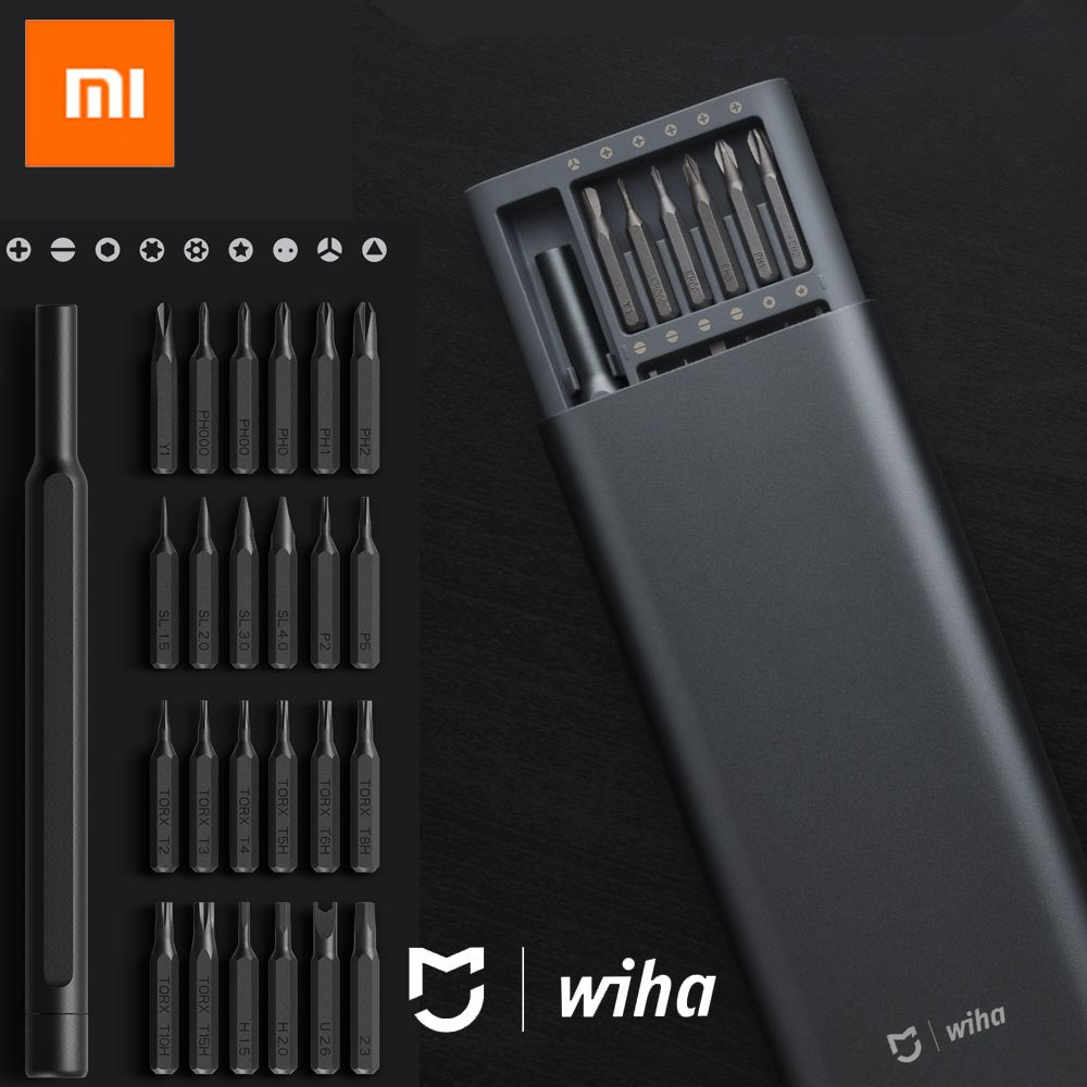 100%Xiaomi Mijia Wiha Daily Use Screw Kit 24 Precision Magnetic Bits Alluminum Box Screw Driver xiaomi smart home Kit