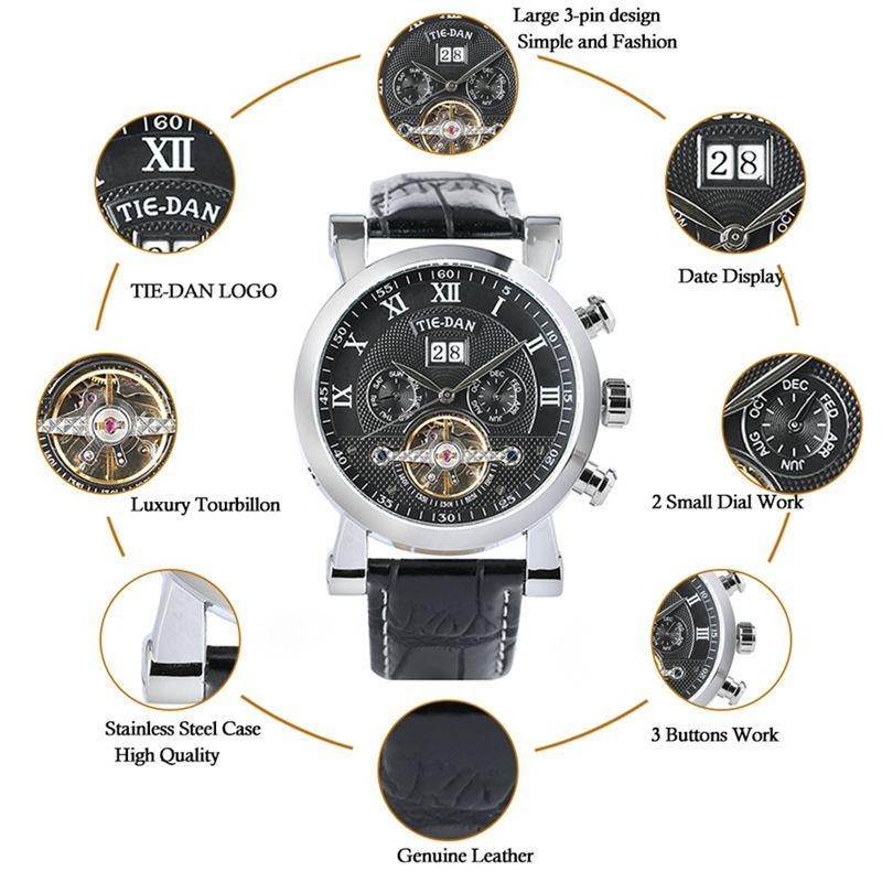 TIEDAN montre homme luxe Top Tourbillon mécanique horloge homme militaire affaires montre-bracelet à remontage automatique en cuir véritable jour heure