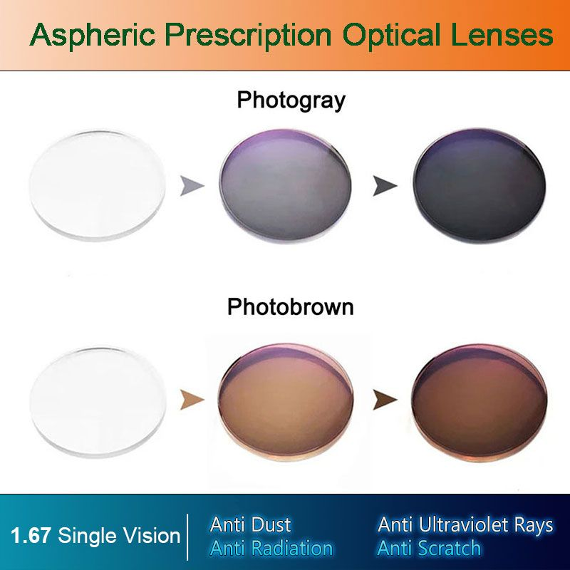 1.67 Photochromic Single Vision Optical Aspheric Prescription Lenses Fast and Deep Color Coating Change Performance