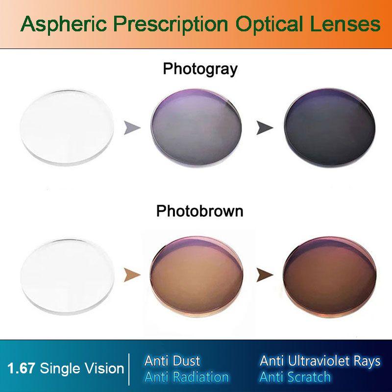 1.67 lentilles de Prescription asphériques optiques photochromiques à Vision unique Performance de changement de revêtement de couleur rapide et profonde