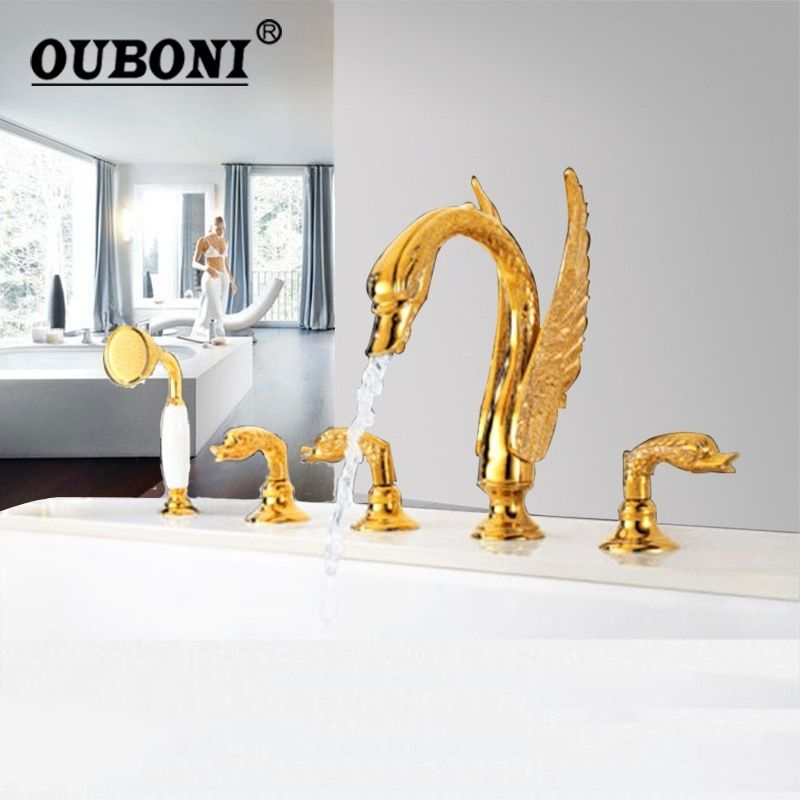 5 pcs Golden Polished Swan Bathroom Bathtub Basin Faucet Deck Mounted Shower Hand Sprayer Gold Plated Bathtub Mixer Cover Faucet