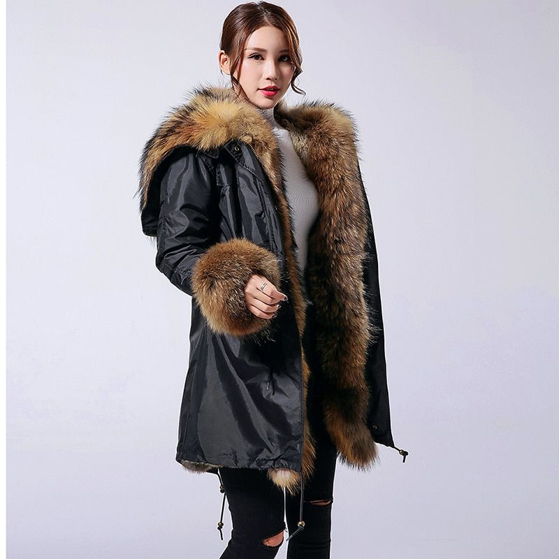 2018 Winter Jacket Women Coat New Parka Natural Real Raccoon Fur Collar Hood Thick Rabbit Fur Liner Outerwear Long Casual Brand