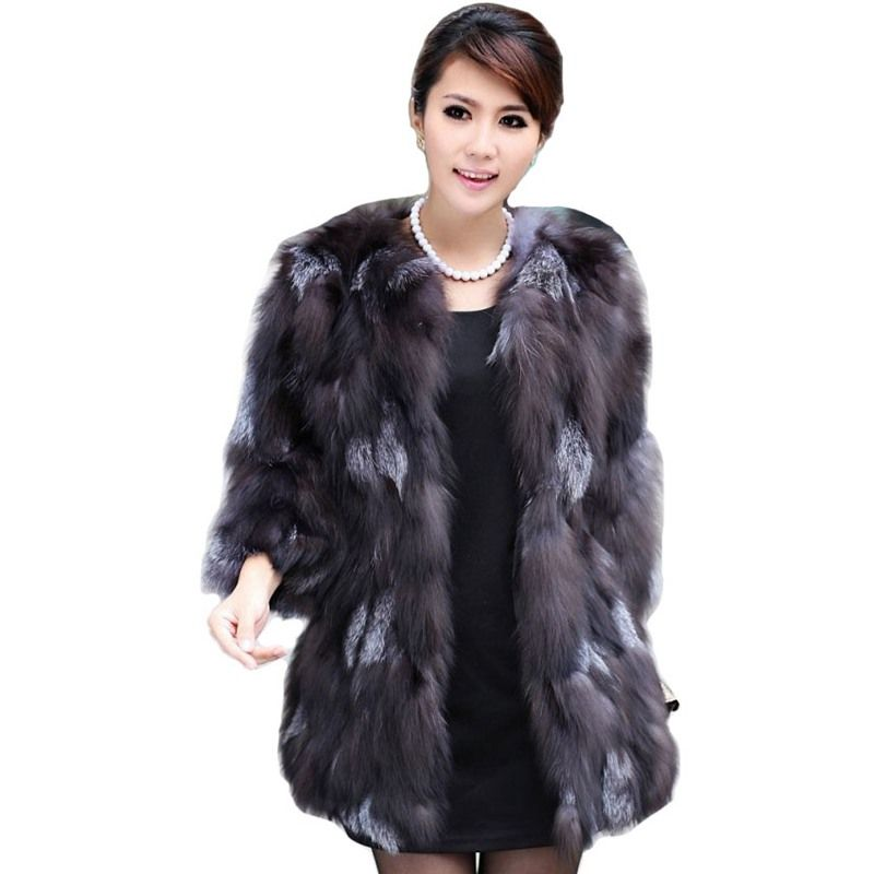 Luxury Lady Genuine Real Fox Fur Coat Jacket 3/4 Sleeve Winter Women Fur Outerwear Coats Trench Overcoat Clothing VK3028