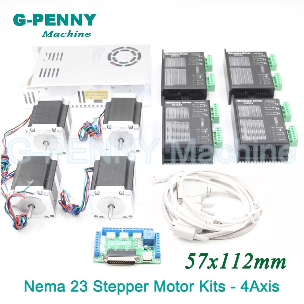 4Axis CNC stepper motor control kits name23 stepping motor + Driver 24-50VDC + Power supply switch 500w 36v+5axis breakout board
