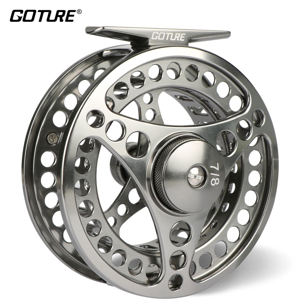 Goture 3/4 5/6 7/8 9/10 WT Fly Fishing Reel CNC Machine Cut Large Arbor Die Casting Aluminum Fly Reel with bag