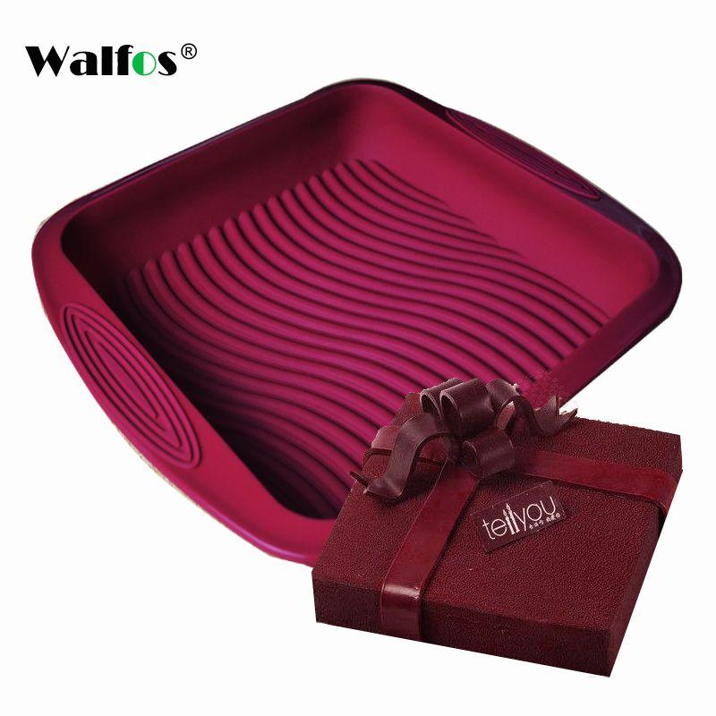 WALFOS qualité alimentaire anti-adhésif vent rouge carré Silicone moule gâteau Pan outils de cuisson moule pour gâteau résistant à la chaleur pain moule