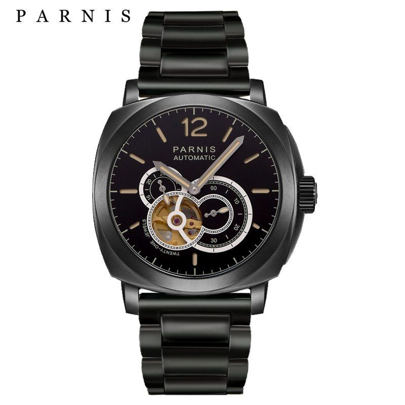 2017 Latest Mens Automatic Skeleton Watch Parnis 44mm Men's Mechanical Watches 21 Jewels Luminous 100M Waterproof Swim Watch Men