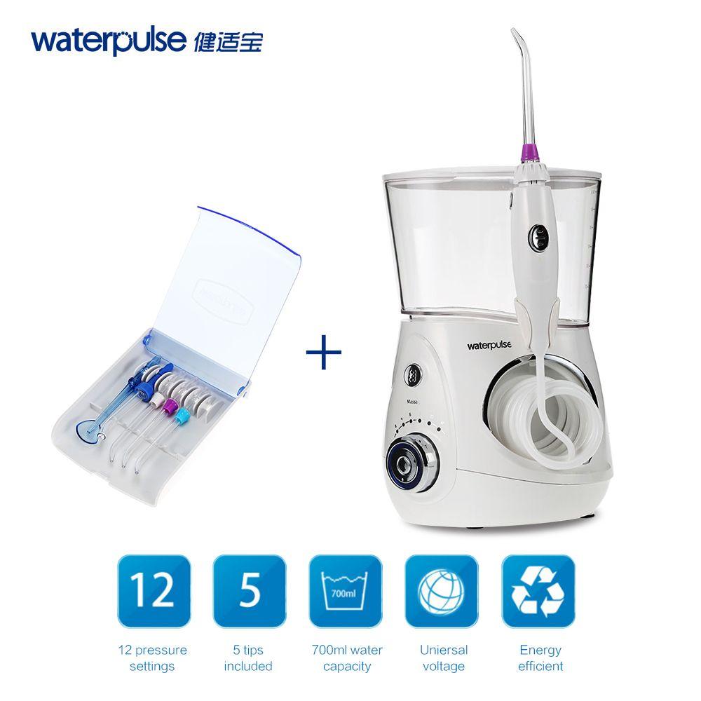 Waterpulse V660 Oral Irrigator Dental Flosser Power Dental Floss Water Jet Oral Care Teeth Cleaner Irrigator With 5 Tip & 700ml