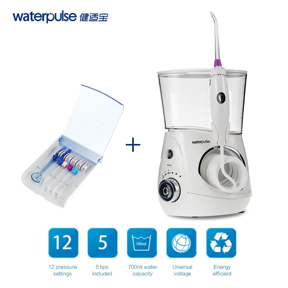 Waterpulse V660 Oral Irrigator Dental Flosser Power Dental Floss Water Jet Oral <font><b>Care</b></font> Teeth Cleaner Irrigator With 5 Tip & 700ml