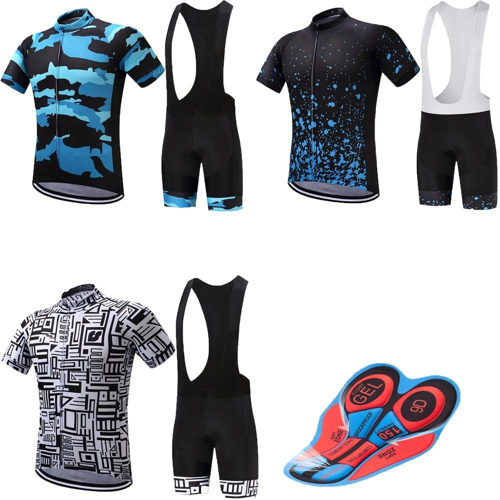 Pro cycling clothing men's mountain bike jersey set 9D gel pad bicycle clothes retro sport wear kit maillot mtb team skinsuit
