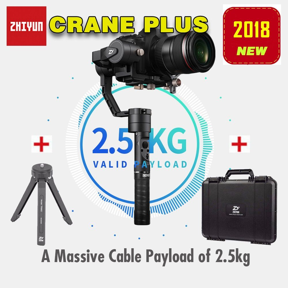 2018 Newest Zhiyun Crane Plus 3-Axis Handheld Gimbal Stabilizer for Mirrorless DSLR Camera Support 2.5KG POV Mode