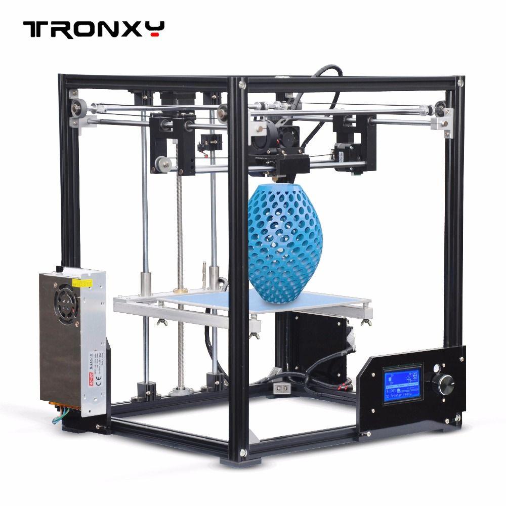 New Tronxy X5 Aluminium Profiles box 3D Printer DIY kit metal FDM Printing technology High quality large printed size 12864p LCD