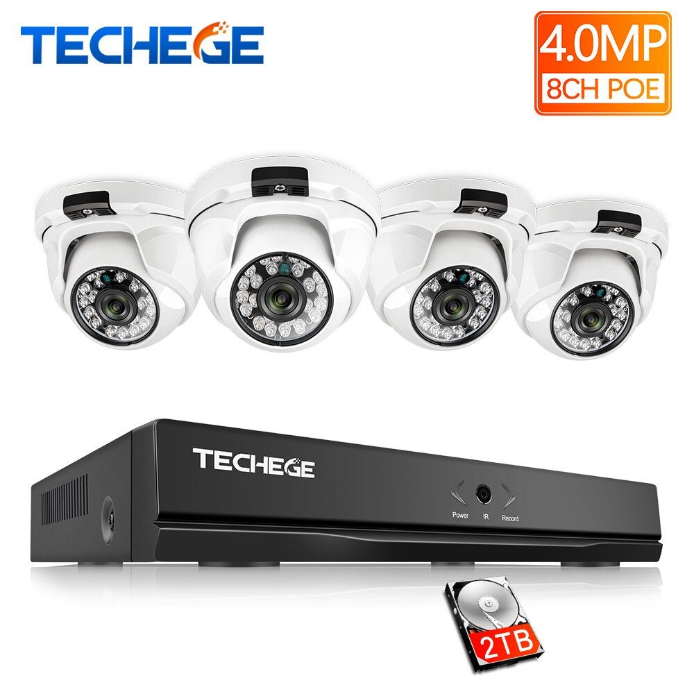Techege H.265 8CH POE NVR Kit 4MP POE Dome IP Camera indoor 2560*1440 IR Night Vision Motion detection Video Surveillance System