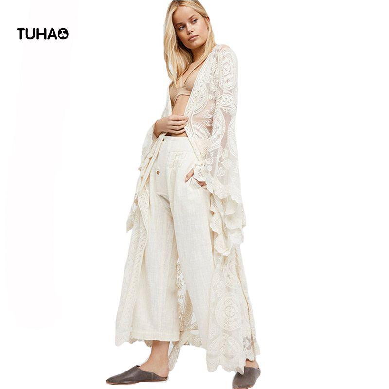 TUHAO Flare Sleeve V-neck Long Blouse With Sashes Bohemian Style Beach Lace Cardigan Summer Boho Blusa Women Tops TA0762
