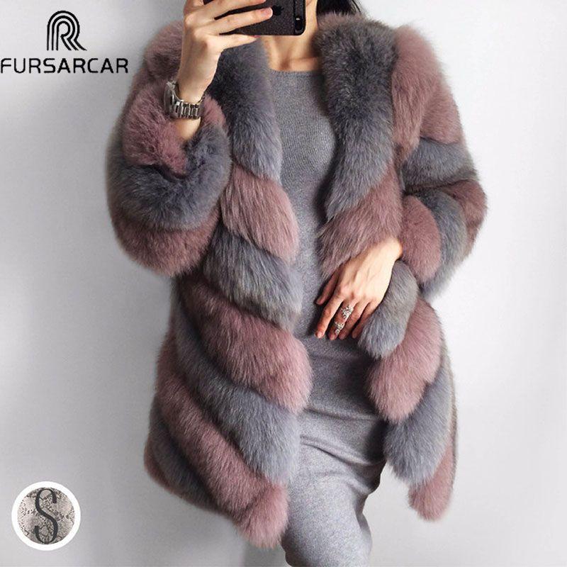 FURSARCAR Winter Echt Pelzmantel Frauen Echtem Leder Pelz Weibliche Jacke Natürliche Lange Fuchs Pelz Mode Streifen Dicke Warme Echt pelz