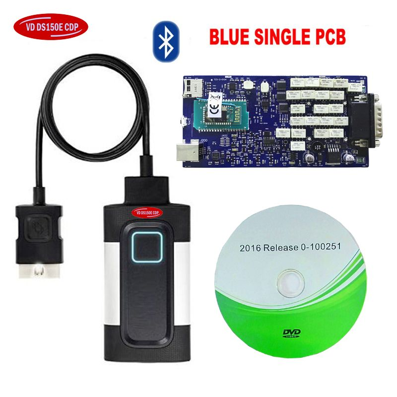 2018 Version VD TCS CDP For Autocoms vd ds 150e cdp Car Truck OBD2 Diagnostic Tool with bluetooth blue single board.free ship