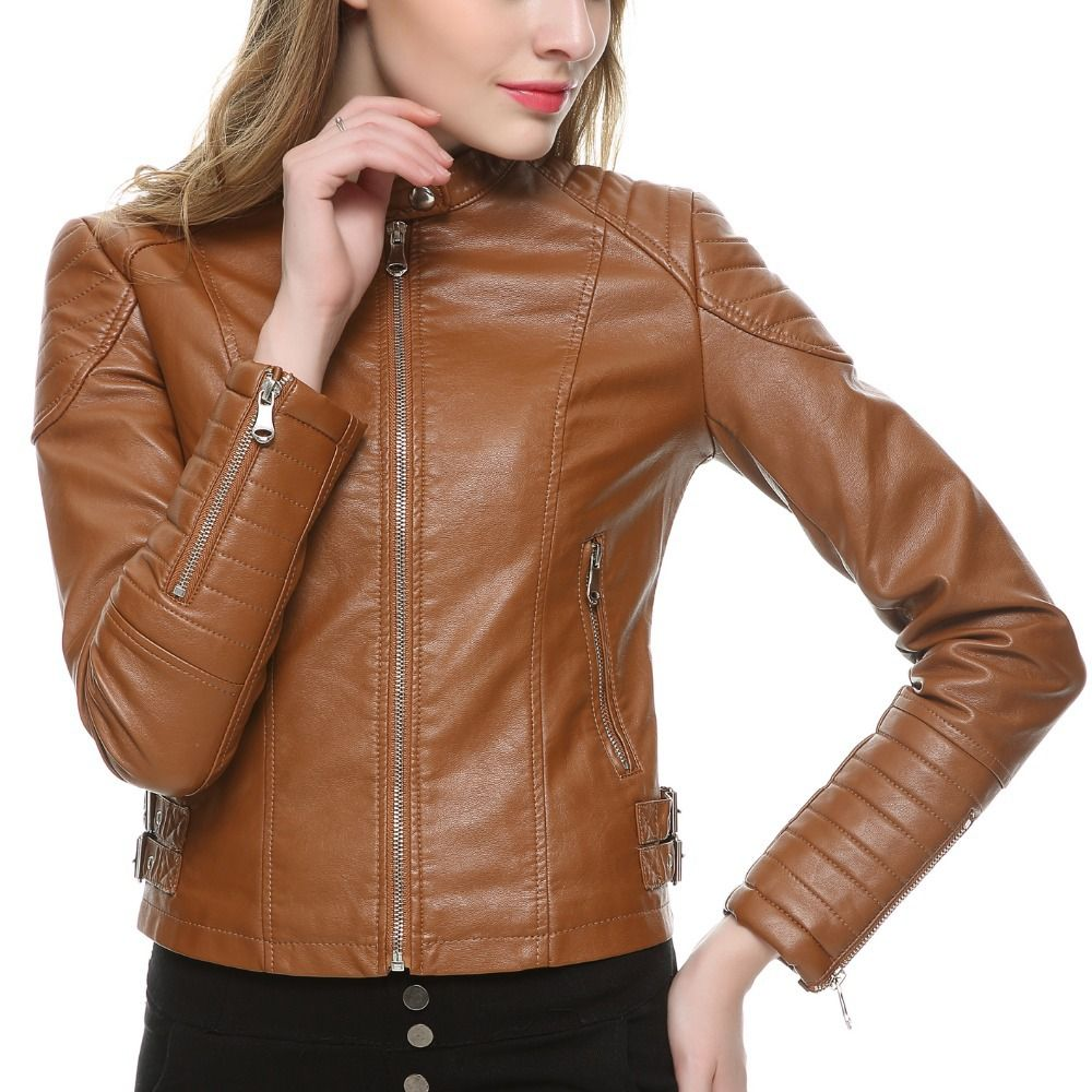2017 Brown Black Faux Leather Jacket Women Short Slim brand Motorcycle Biker Jacket White Leather Coat Chaquetas Mujer 5 Colors