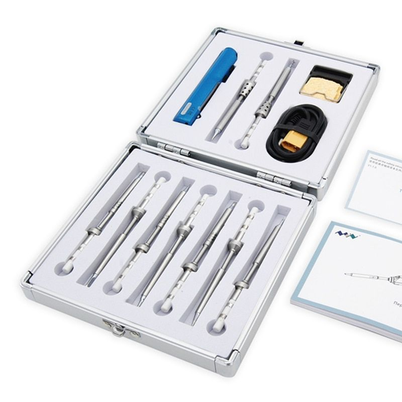 New Arrival 2018 12 In 1 TS100 Soldering Iron Kit With 9pcs Tips 1pcs XT60 Cable 1pcs Holder High Quality Soldering Iron Set
