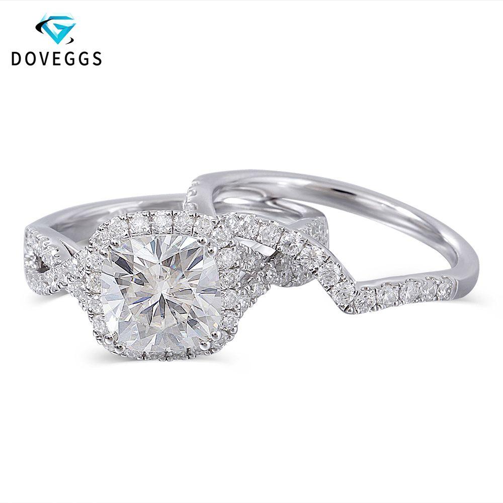 DovEggs 10K White Gold Center 2ct Carat 7.5mm FG Color Moissanite Halo Engagement Ring For Women Bridal Sets Gold Wedding Bands