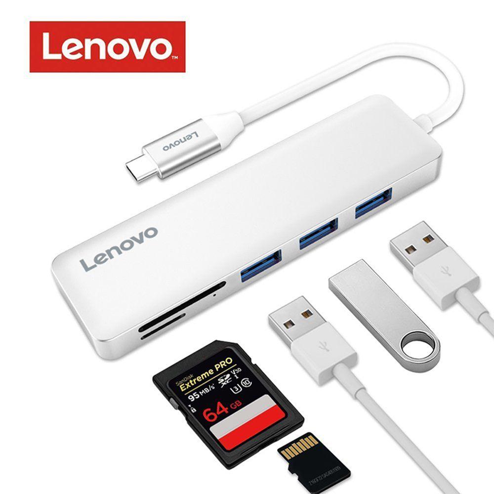 Lenovo 5-in-1 USB Typ-C zu 3 Ports USB 3.0 Adapter USB-C Daten Nabe Schlanke 5 gbps SD/TF Kartenleser für MacBook Pro Chromebook Pixel