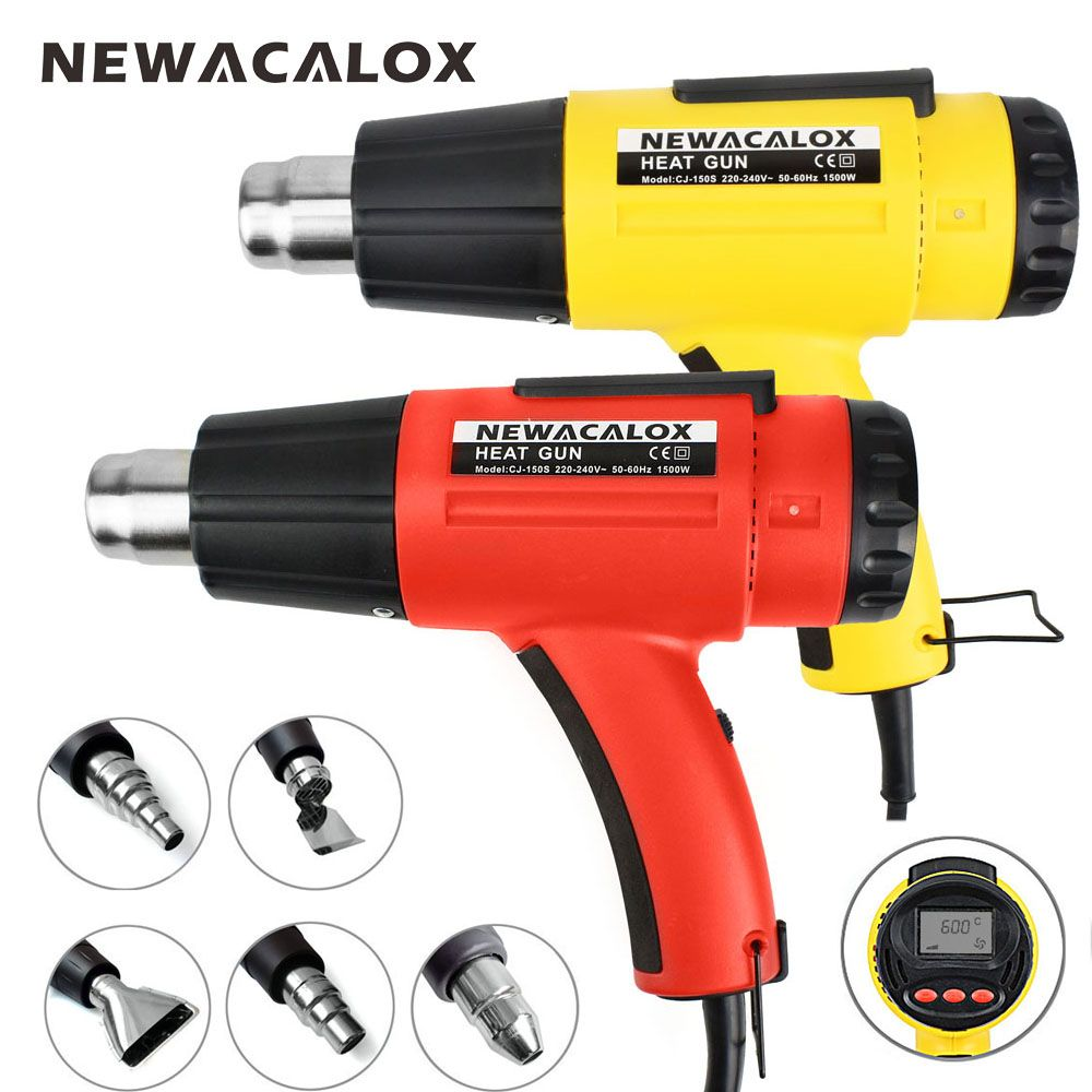 NEWACALOX 1500W Digital Heat Gun 220V EU Electric Thermoregulator LCD Display Hot Air Gun Shrink Wrapping Thermal Power Tool