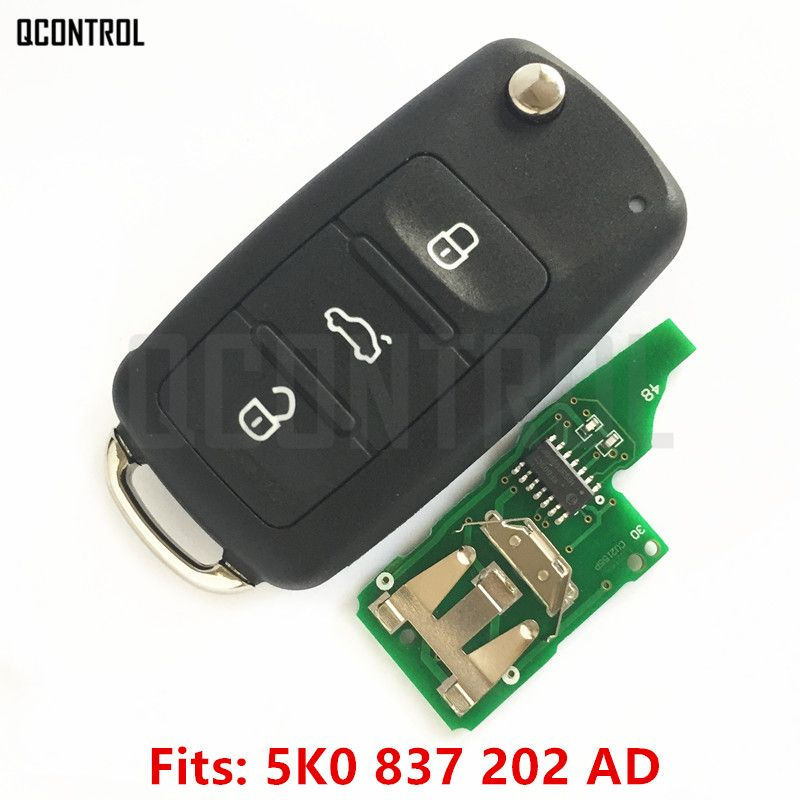 QCONTROL 5K0 837 202 AD Remote Key for VW/VOLKSWAGEN 5K0837202AD Beetle/Caddy/Eos/Golf/Jetta/Polo/Scirocco/Tiguan/Touran/UP