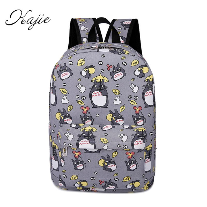 Kawaii Canvas Printing Cartoons Backpack For Teenage Boys Girls School Bags For Teenagers Mochila Feminine Totoro Bagpack Hot