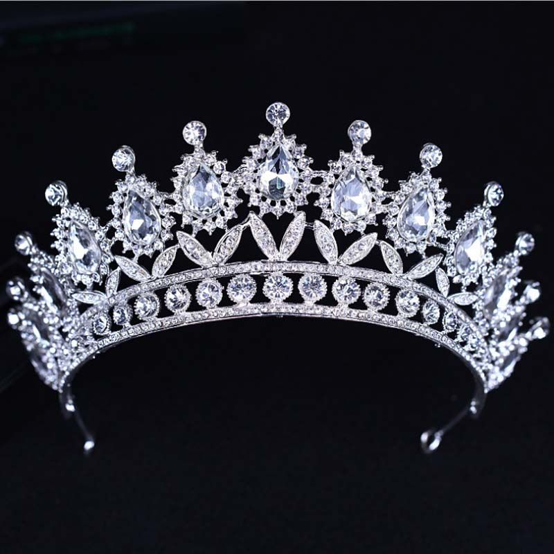 KMVEXO 2018 New Baroque Big Rhinestone Crystal Beaded Headband Tiara Bride Crown Luxury Wedding Korean Hair Ornaments