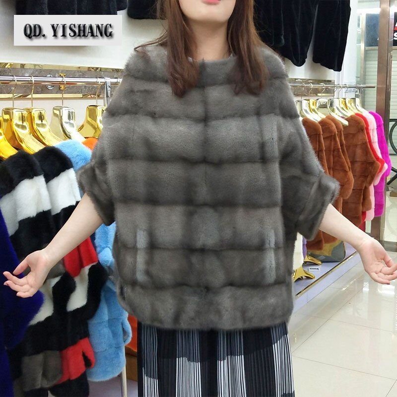Real natural mink fur new fashion women's jacket bat shirt coat autumn and winter short popular mink fur coat QD.YISHANG