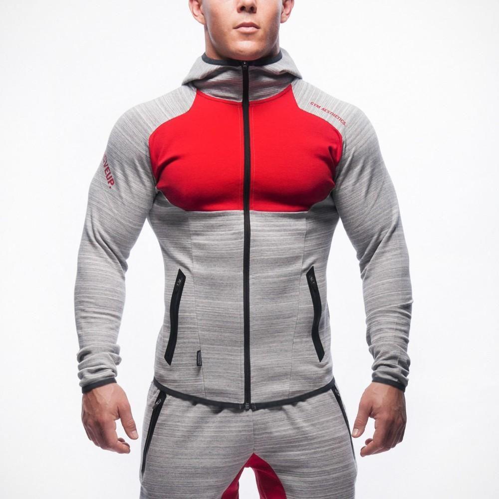 2018 spring new fashion zipper pocket designer men's casual hooded jacket personalized stitching jacket dark gray light gray