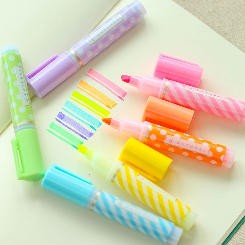 Y18 Satz von 6 Nette Mini Dots Striped Textmarker Farbe Marker Pen Zeichnung Flüssige Kreide Schreibwaren Schule Bürobedarf Kinder geschenk