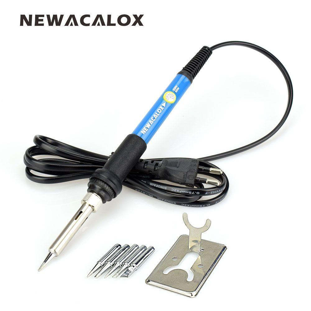NEWACALOX fer à souder Kit EU/US 60W température réglable outil de soudage 5 pièces fer à souder conseils soudage réparation outil