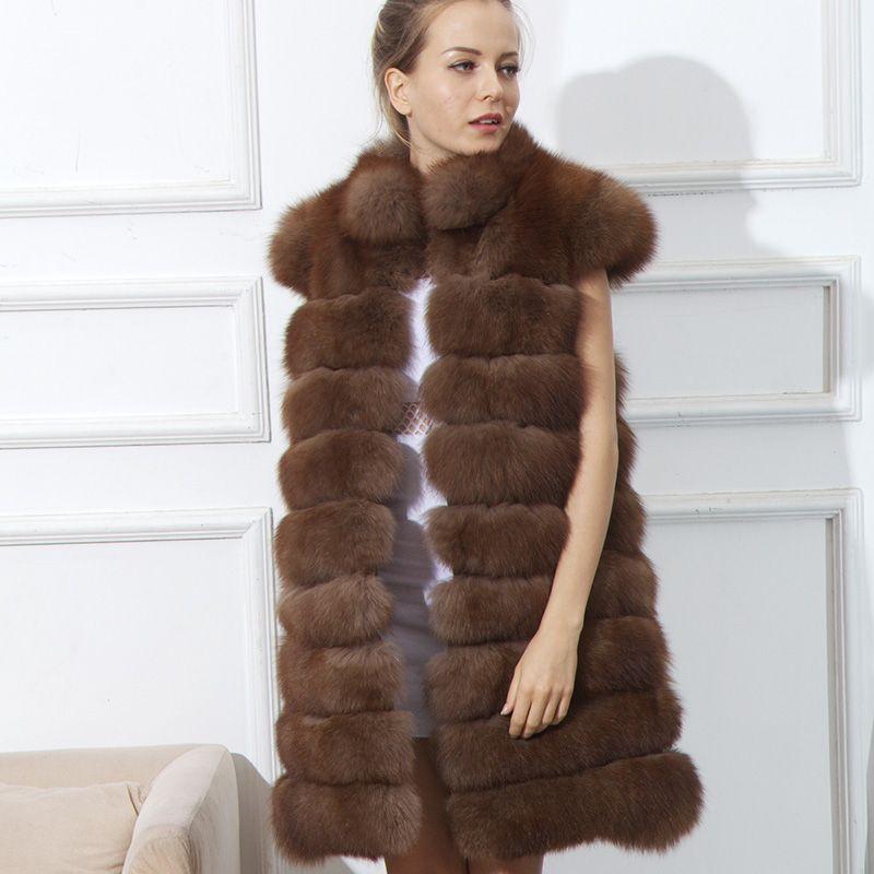 CNEGOVIK hot sell Women's warm fur vest Imitation of sable fox fur vest The horizontally styles with real leather real fur vest