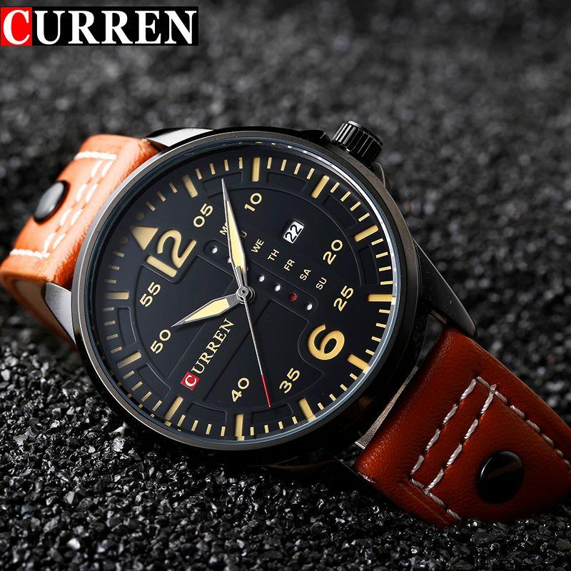 CURREN Fashion Brand Leather Strap Casual Men Sports Watch Quartz Military Wrist Watch Male Clock Auto Date Relogio Masculino