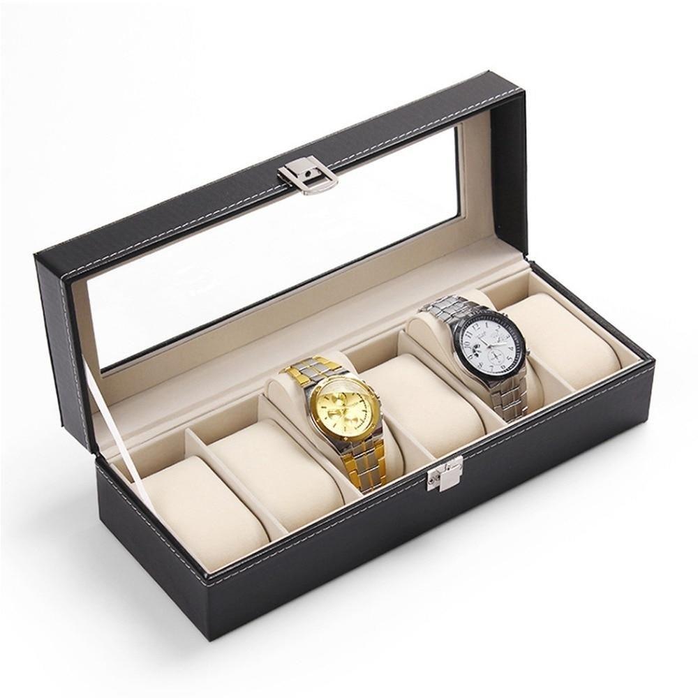 FANALA часы коробка 5 сетки часы Коробки чехол из искусственной кожи Черный органайзер для часов держатель Дисплей хранения Роскошные ювелирн...