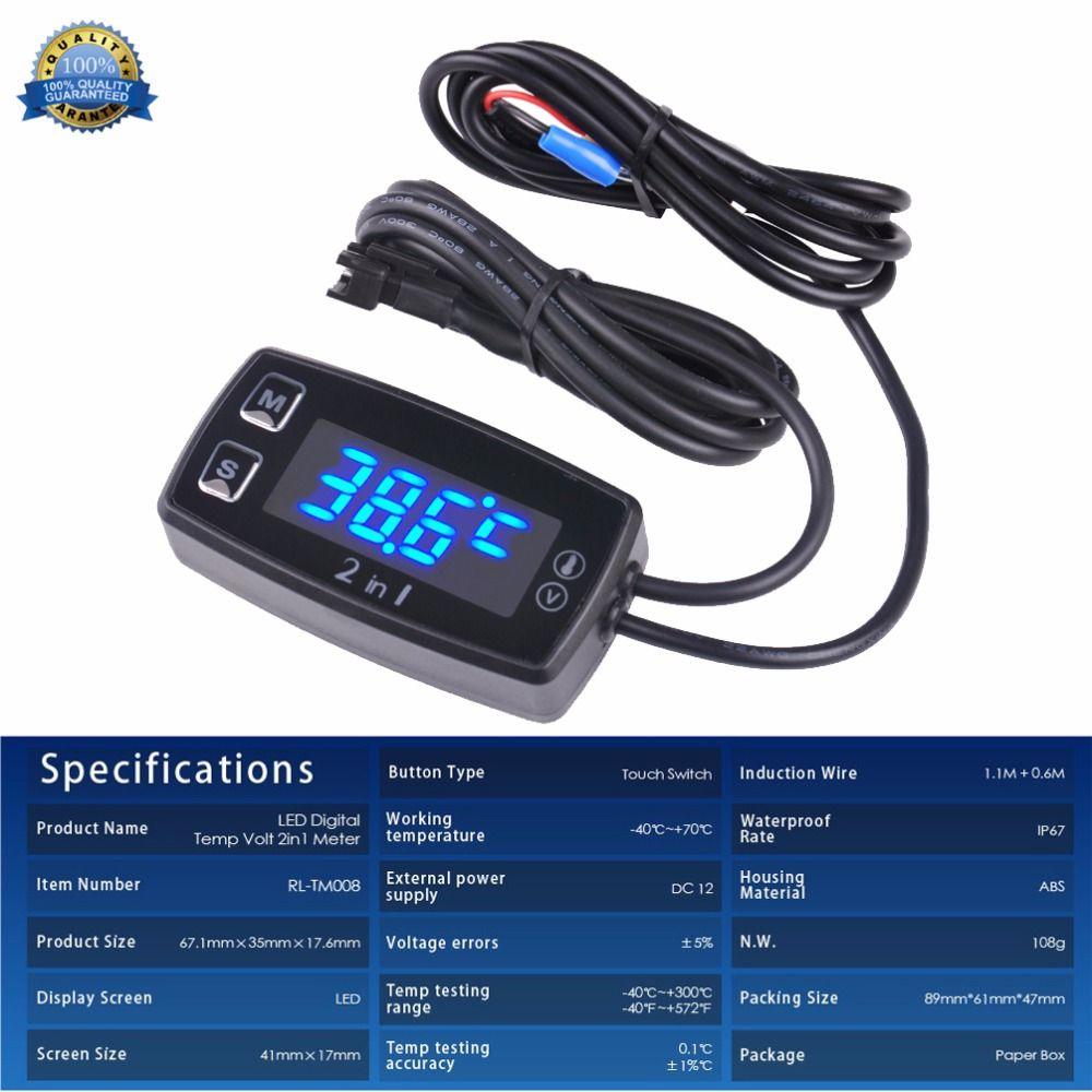 Runleader LED Digital TM008 thermometer voltmeter temperature meter for pit bike ATV outboard glider lawn mower boat marine