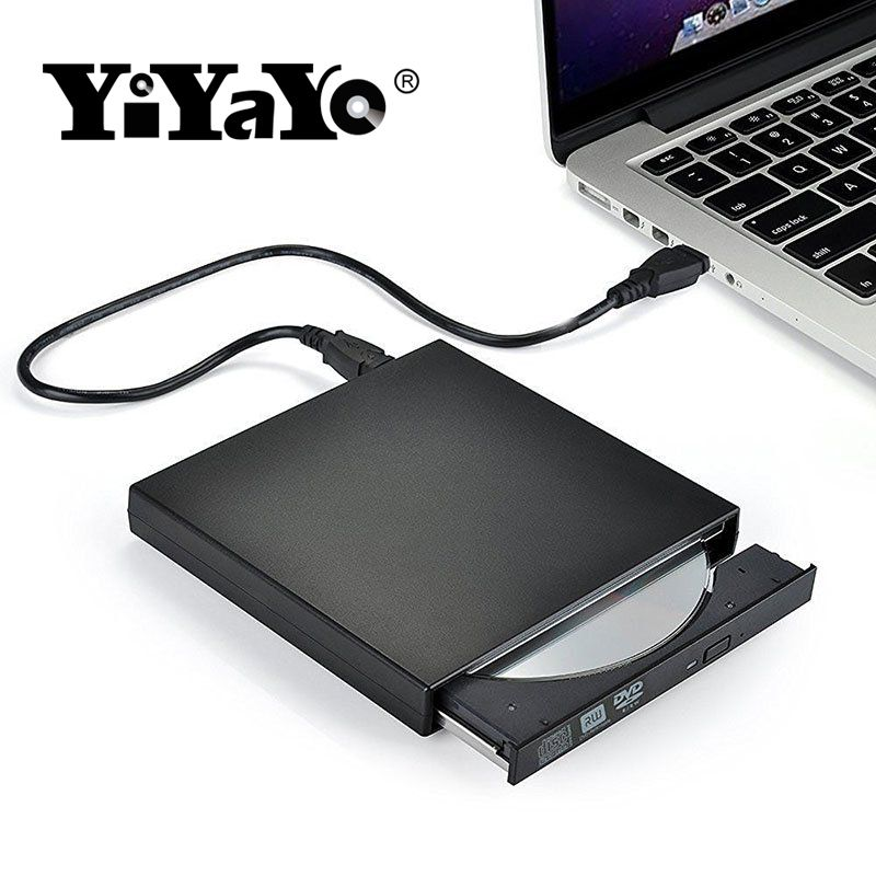 YiYaYo Externe DVD Optische Stick USB 2.0 DVD-ROM Player CD/DVD-RW Brenner Reader Writer Recorder Portatil für Windows PC