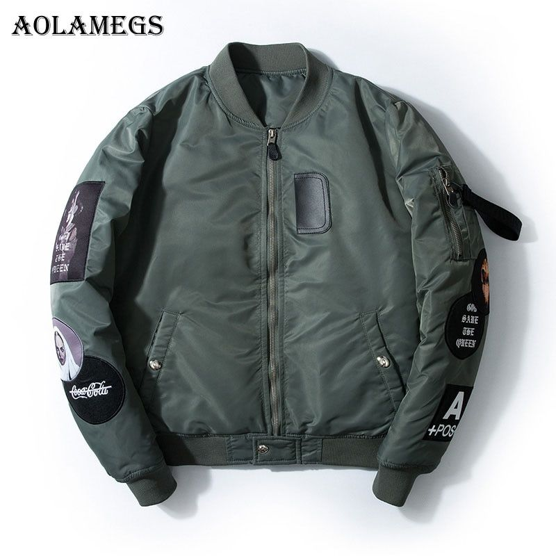 Aolamegs Bomber Jacket Badge Logo Number Men's Jacket Stand Collar Hip Hop Fashion Outwear Autumn Men Coat Bomb Baseball Jackets