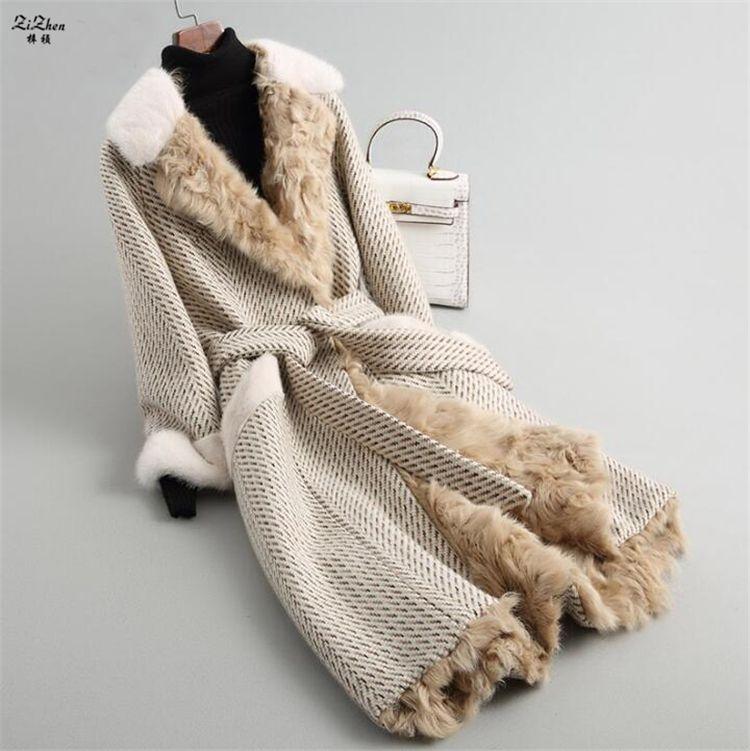 ZiZhen Winter Women's Long Cashmere Natural Wool Coat Real Lamb Fur Liner Overcoat Mink Fur Collar Pockets With Belt 180709-4
