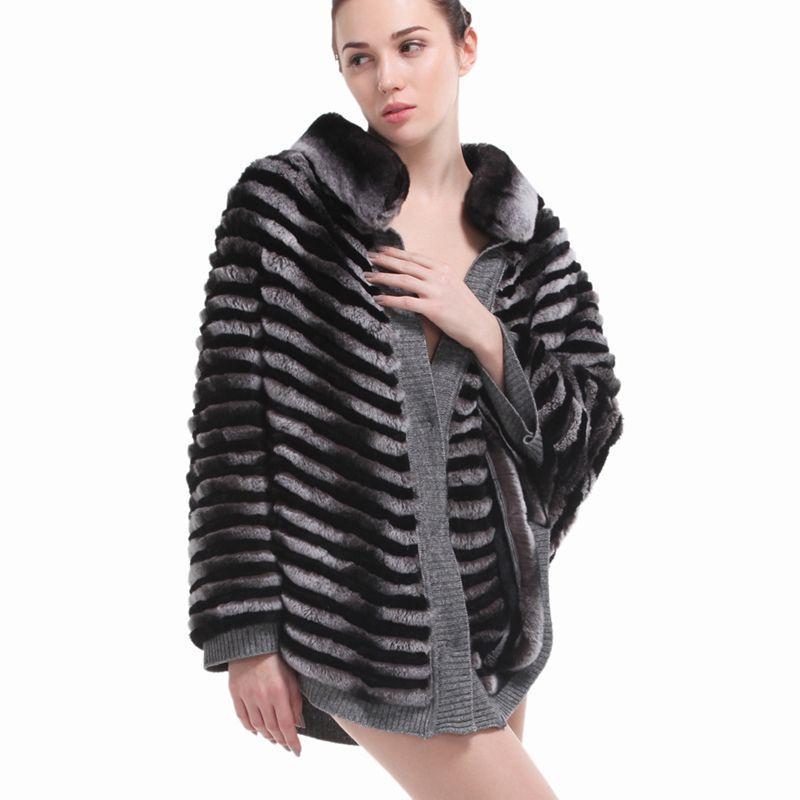 ZY81014 Ladies Real Rex Rabbit Fur Bat Sleeved Mandarin Collar Women Winter Fur Coats Female Overcoat Jacket