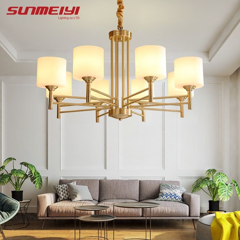 American Modern LED Chandeliers For Living room Dining room lustres para quarto All Copper Vintage Chandelier Lighting