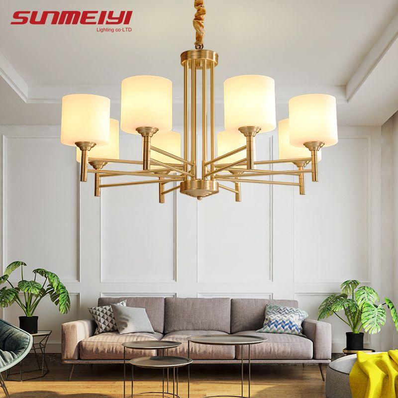 American Modern LED Chandeliers For Living room Dining room lustres para quarto All Copper Vintage Chandelier Lighting