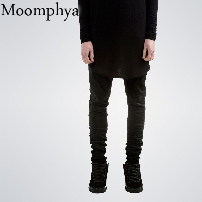 Negro de los hombres de Mezclilla Skinny jeans pantalones vaqueros Famoso Diseñador de la Marca Delgada Fit vaqueros rectos de los hombres de color sólido calle KANYE motorista pantalones vaqueros