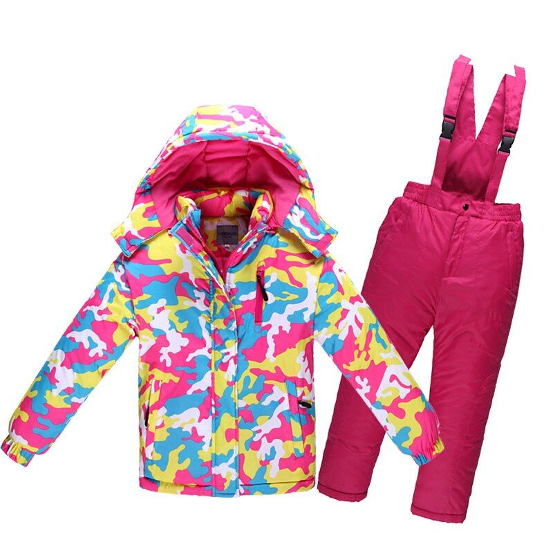Children's Winter Ski Suit Minus 30 Degree Thick Warm Waterproof Windproof <font><b>Girls</b></font> Clothing Set Boys Outdoor Cotton Sports Clothes