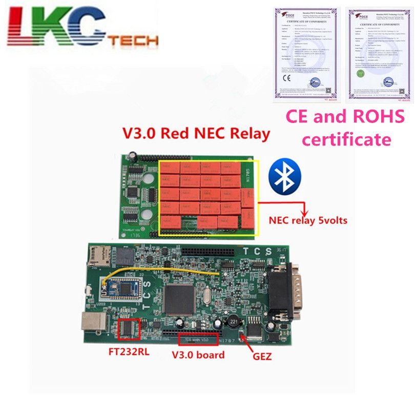 Newest V3.0 with RED NEC Relay TCS CDP Pro 2016.00 newest Software Bluetooth optional for Car /Truck Auto Diagnostic Tool